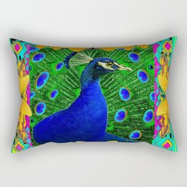 Chartreuse Wildlife Art Blue Peacock & Yellow Butterflies Art Rectangular Pillow