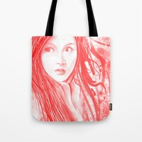 blood Tote Bags featuring Blood by denzmoon