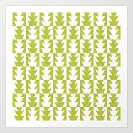 Art Deco Jagged Edge Pattern Chartreuse Art Print