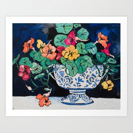Nasturtium Bouquet in Chinoiserie Bowl on Dark Blue Floral Still Life Painting Art Print