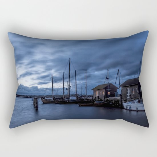 Blue hour at harbour Rectangular Pillow