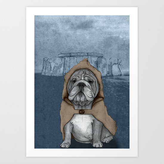 English Bulldog in Stonehenge Art Print