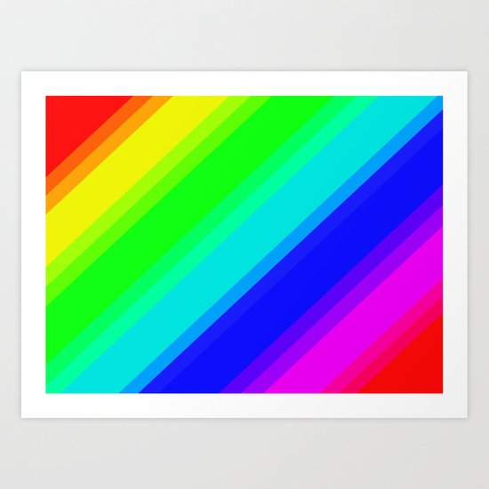 Brightly Coloured Stripes Art Print