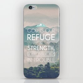 Typography Motivational Christian Bible Verses Poster - Psalm 46:1 iPhone Skin