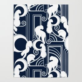 Deco Gatsby Panthers // navy and silver Poster