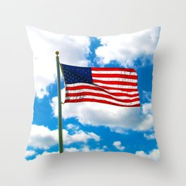 American Flag in Big Blue sky Throw Pillow