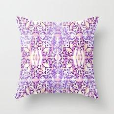 Lavender and White Moroccan Boho Throw Pillow