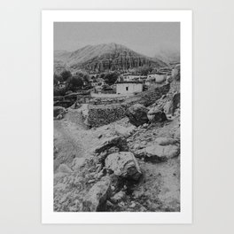Hiking in the Himalaya   Little village in black and white   Fine Art photography Art Print