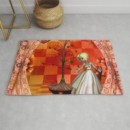 Cute little girl with heart tree Rug