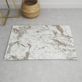 White frost - rose gold marble Rug