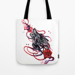 Howling Wolf and Rose Tote Bag