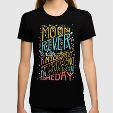 MOON RIVER Black Womens Fitted Tee SMALL