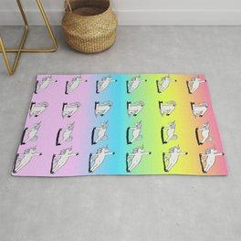 Unicorn Yoga Pattern Rainbow Rug