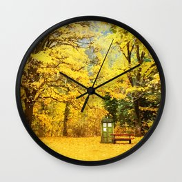 Tardis In The Forest Autumn Wall Clock
