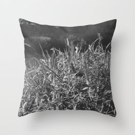photograph of river landscape and plants in the field in soft green color for clothes, furniture, gi Throw Pillow