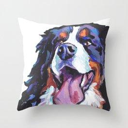 Berner Bernese Mountain Dog Portrait Pop Art painting by Lea Throw Pillow