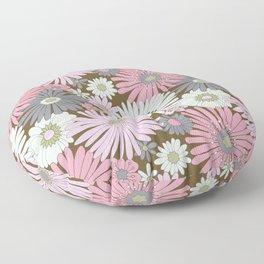 Pink & Purple Pastel Retro Flowers Floor Pillow