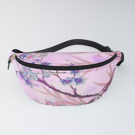 little blue flowers and pink leaves Fanny Pack