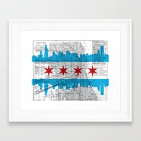 chicago map Framed Art Prints featuring Chicago Map  by Kasi Turpin