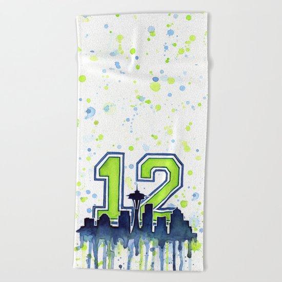 Hawks 12th Man Fan Art Seattle Space Needle Beach Towel