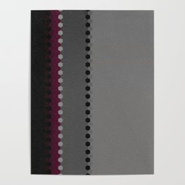 Modern Burgundy Grey Black Stripe Dot Pattern Poster