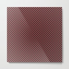 Dusty Cedar and Black Polka Dots Metal Print