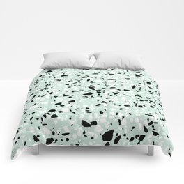 'Speckle Party' Mint Green Black White Dots Speckle Trendy Sporty Pattern Comforters