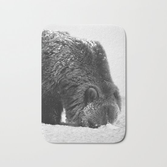 Alaskan Grizzly Bear in Snow, B & W - 2 Bath Mat
