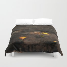 Abstract landscape nature texture lava fire geology digital illustration Duvet Cover