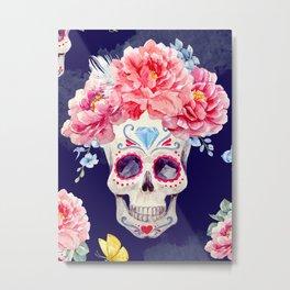 Mexican Skull Calavera Flower Floral Crown Watercolor Painting Metal Print