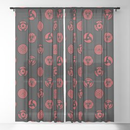 Visual Jutsu - black & red Sheer Curtain