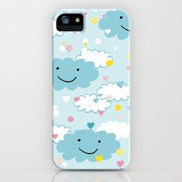 Children's pattern in happy clouds iPhone Case