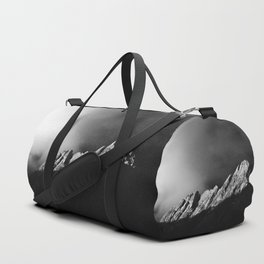 Last sun rays on the mountain in black and white Duffle Bag