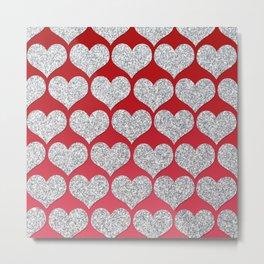 Silver Glitter Hearts Metal Print
