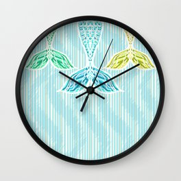Mermaids and Stripes Wall Clock