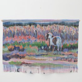 Chincoteague Pony, a colorful landscape of a wild horse in the dunes on the beach in Virginia. Wall Hanging