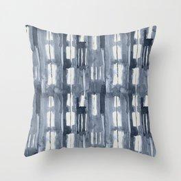 Simply Shibori Lines in Indigo Blue on Lunar Gray Throw Pillow