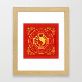Golden Bagua Feng Shui Symbol on Faux Leather Framed Art Print