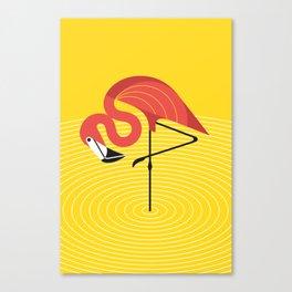 Flamingo on Yellow Canvas Print