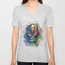floral tropical skull Unisex V-Neck