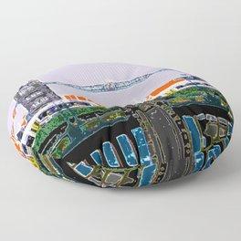 Tower bridge and tube Floor Pillow