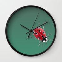 ladybug Wall Clocks featuring Ladybug by Chelle Shaw