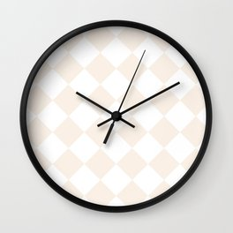 Large Diamonds - White and Linen Wall Clock
