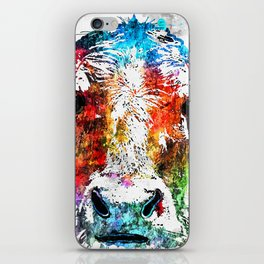Cow Watercolor Grunge iPhone Skin