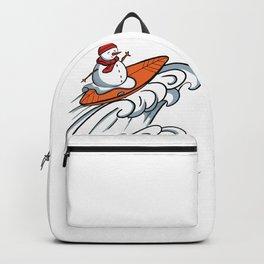 Happy Surfer Snowman design - Surfing Snowman Backpack