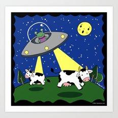 Cow Abduction! Art Print