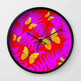 Modern RED Design  Fuchsia Fern Fronds With Yellow Butterflies Wall Clock