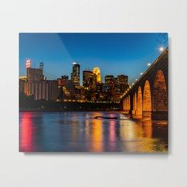 Stone Arch Bridge Illuminated Metal Print