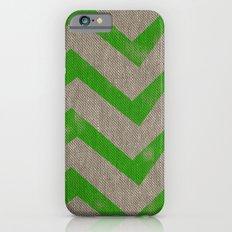 lime chevron on linen Slim Case iPhone 6s