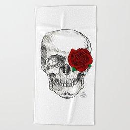 Rose Skull Beach Towel